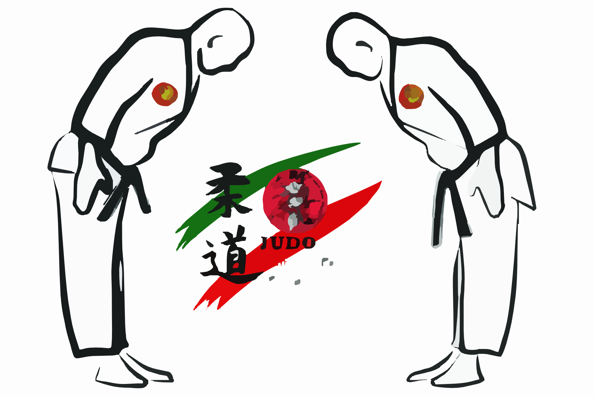 Vector Graphic of Judo Contestants Bowing to Each Other